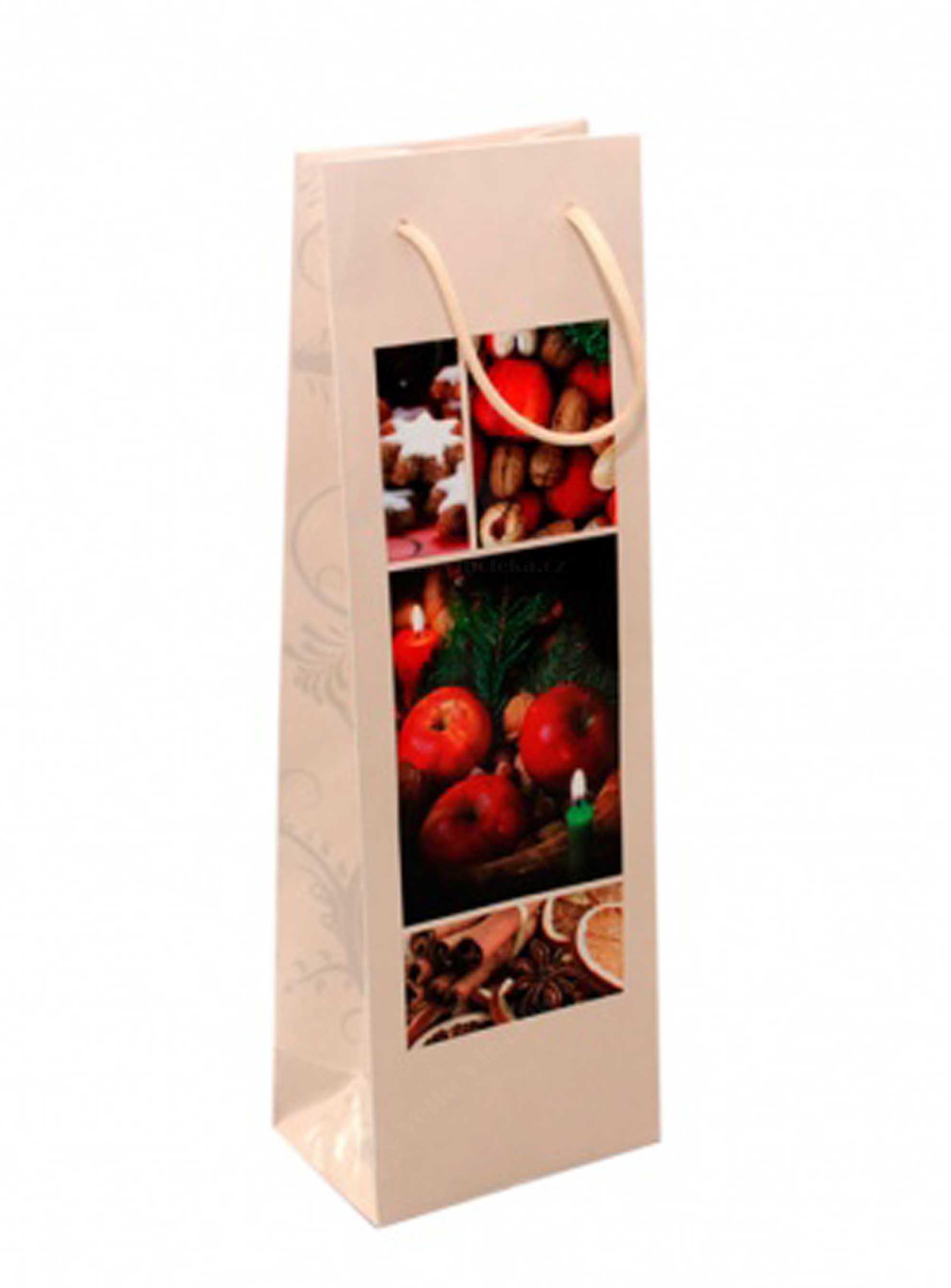 Vánoční papírová taška na víno s potiskem - béžová - 1ks