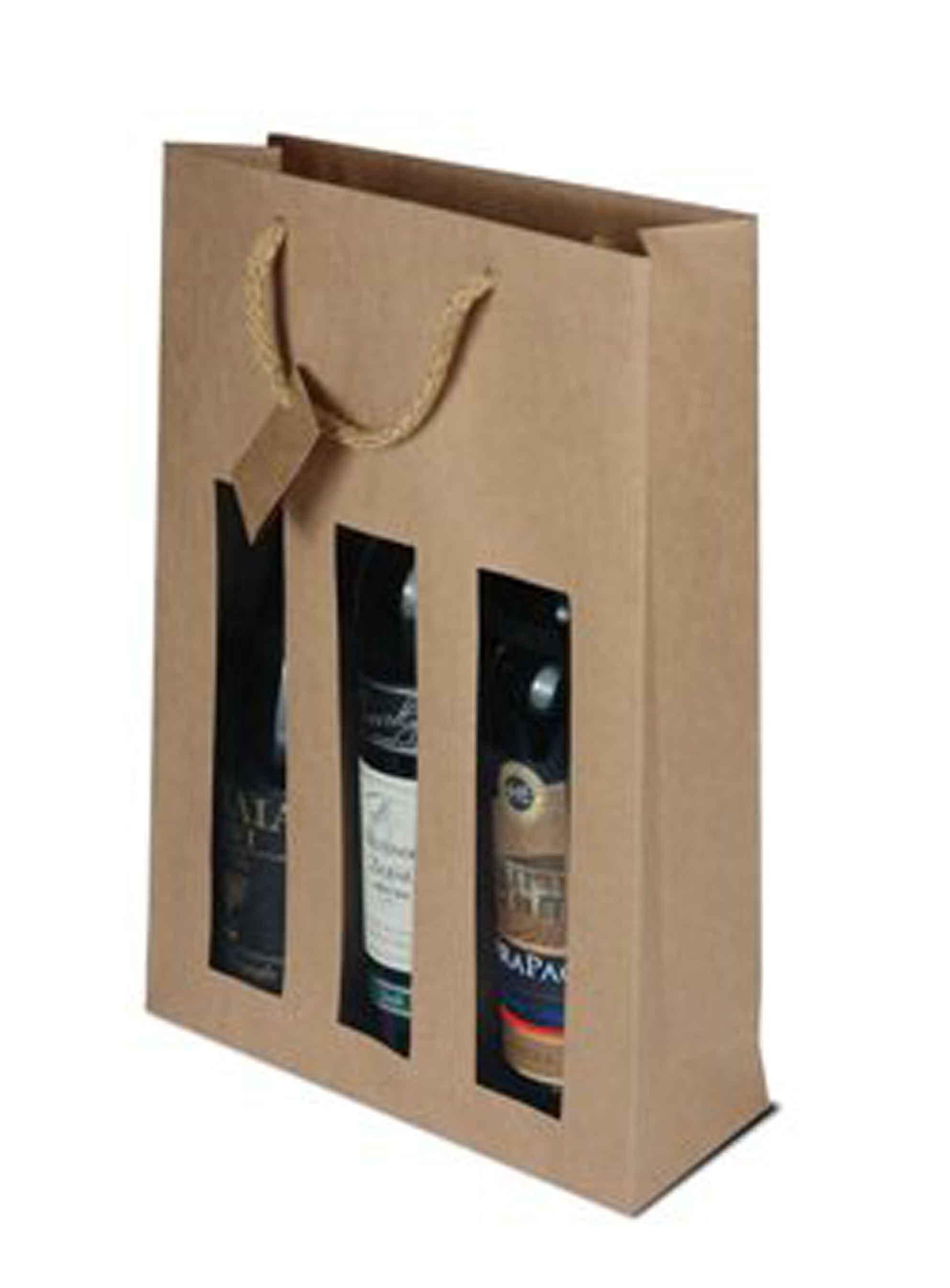 Papírová taška na 3 láhve vína s okénkem - hnědá