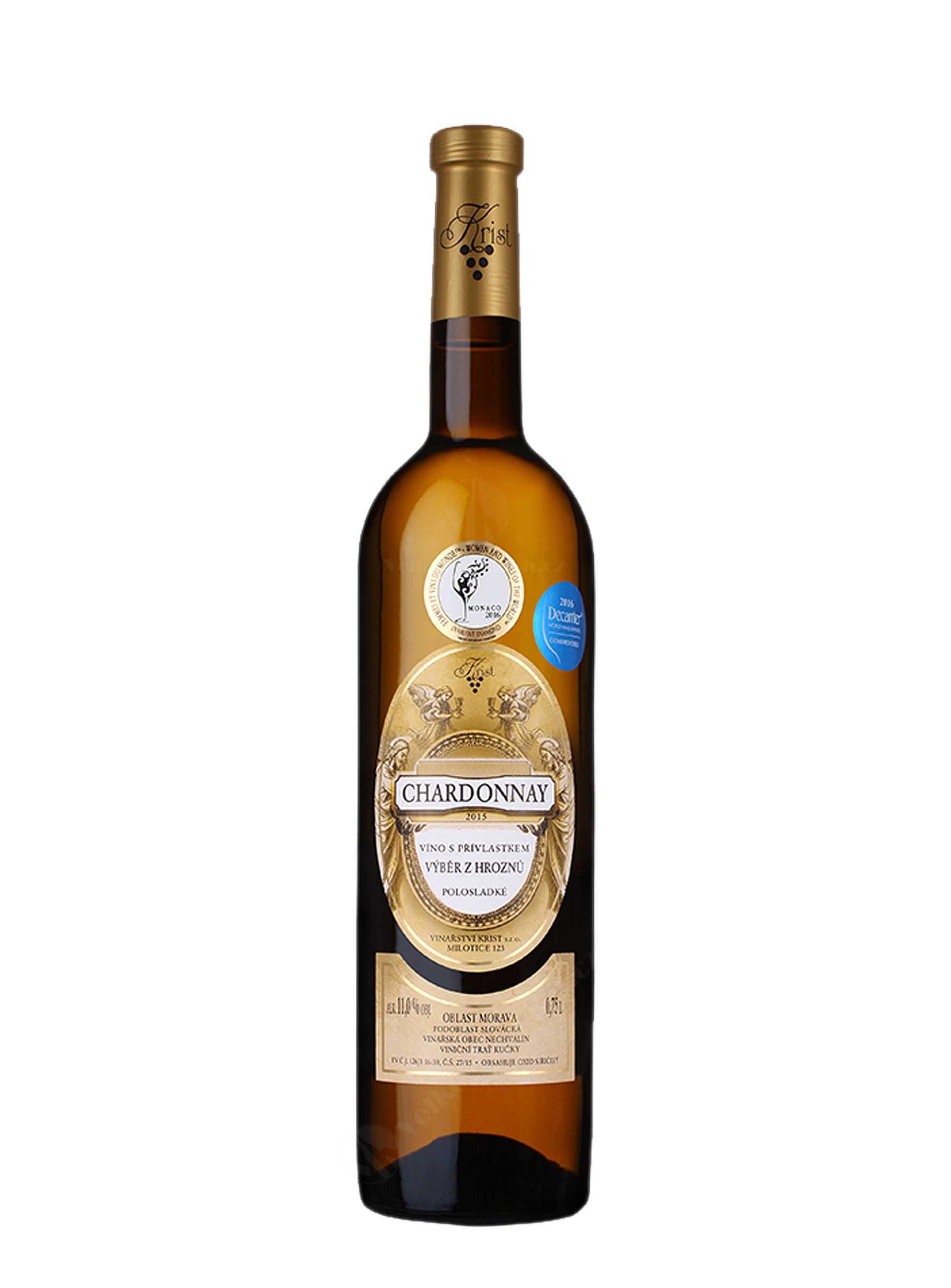 Chardonnay, Výběr z hroznů, 2015, Vinařství Krist Milotice, 0.75 l