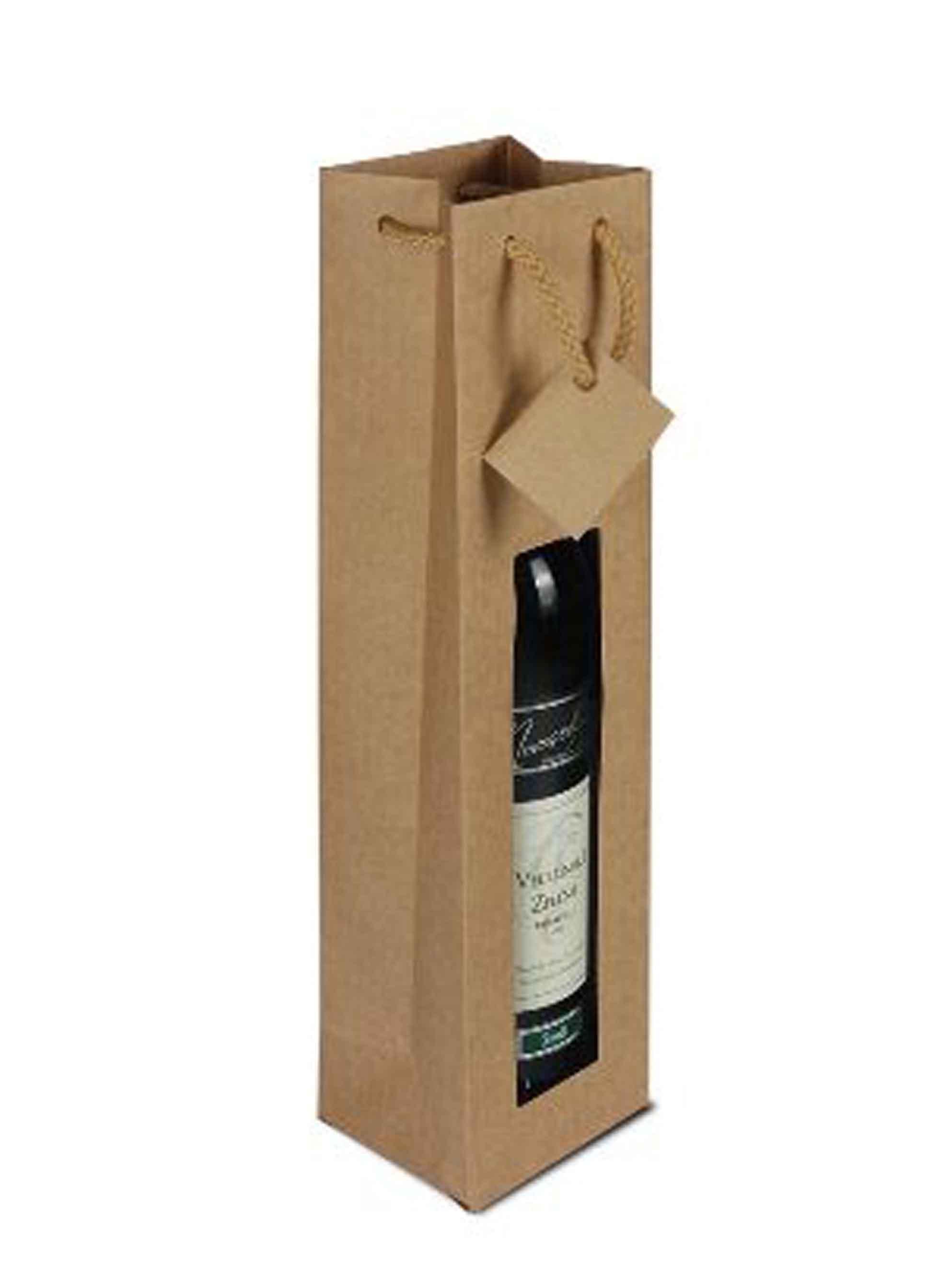 Papírová taška na 1 láhev vína s okénkem - hnědá - 1ks