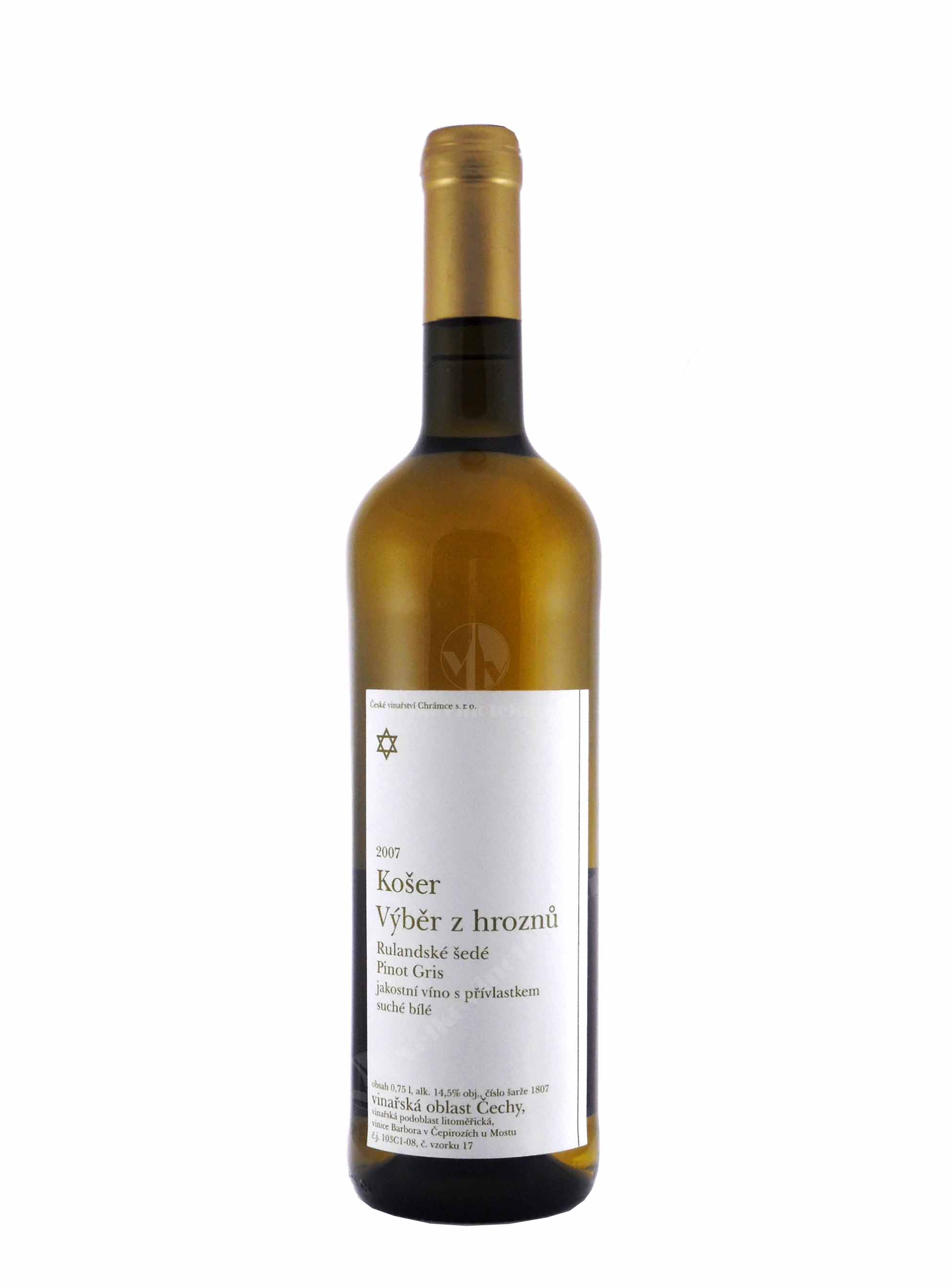 Rulandské šedé, Košer, Výběr z hroznů, 2007, České vinařství Chrámce, 0.75 l