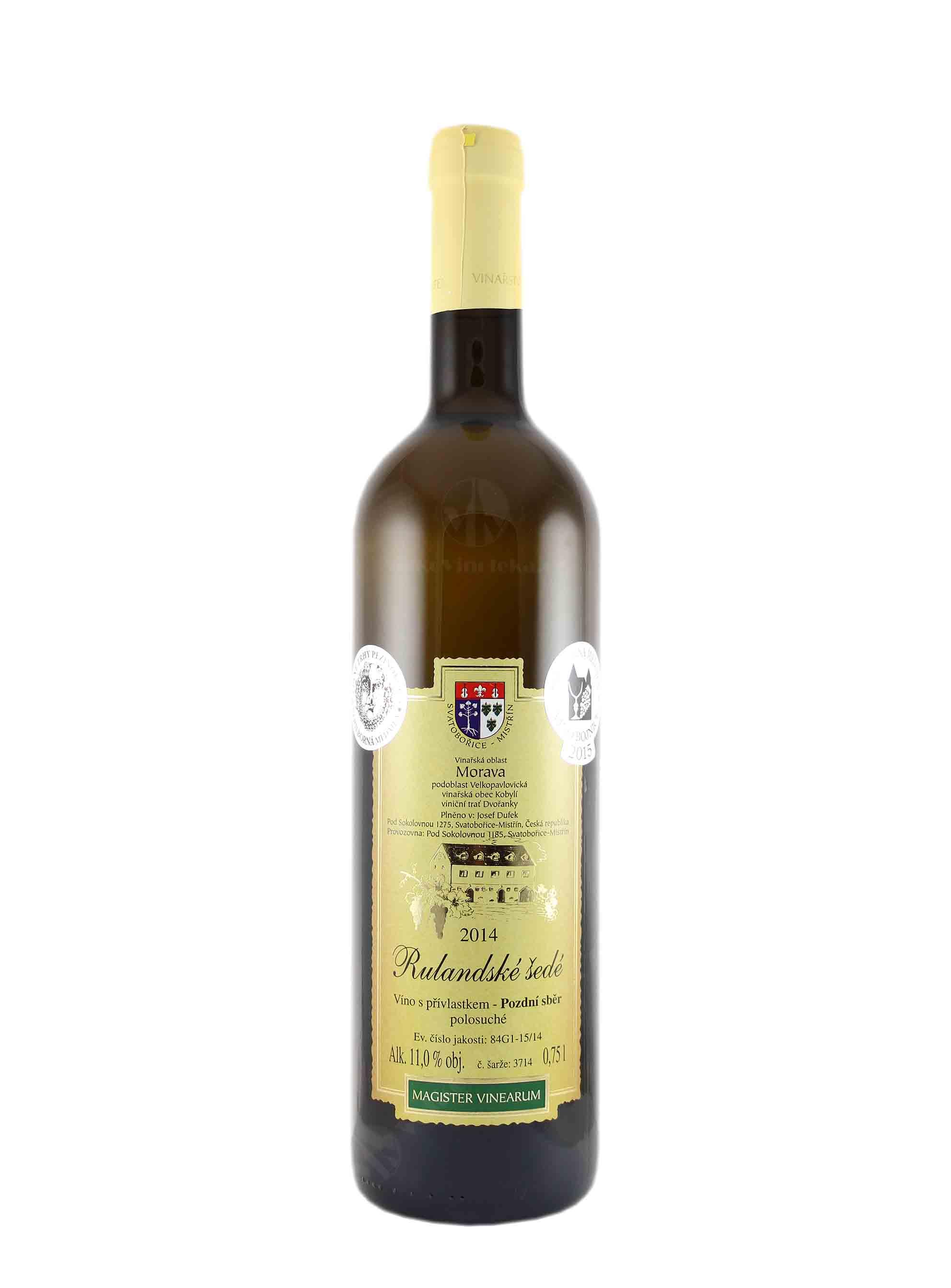 Rulandské šedé, Pozdní sběr, 2014, Vinařství Dufek, 0.75 l