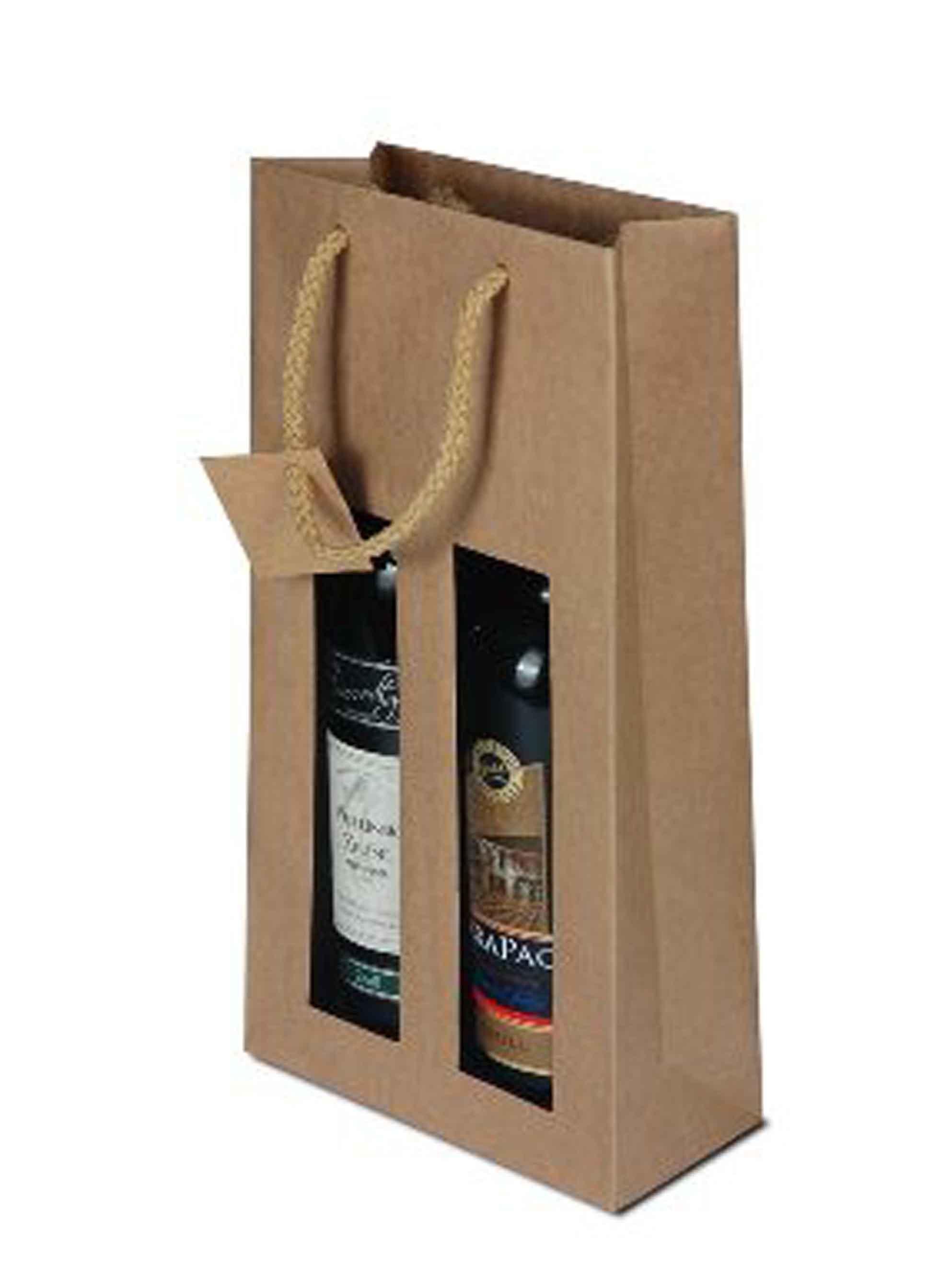 Papírová taška na 2 láhve vína s okénkem - hnědá - 1ks