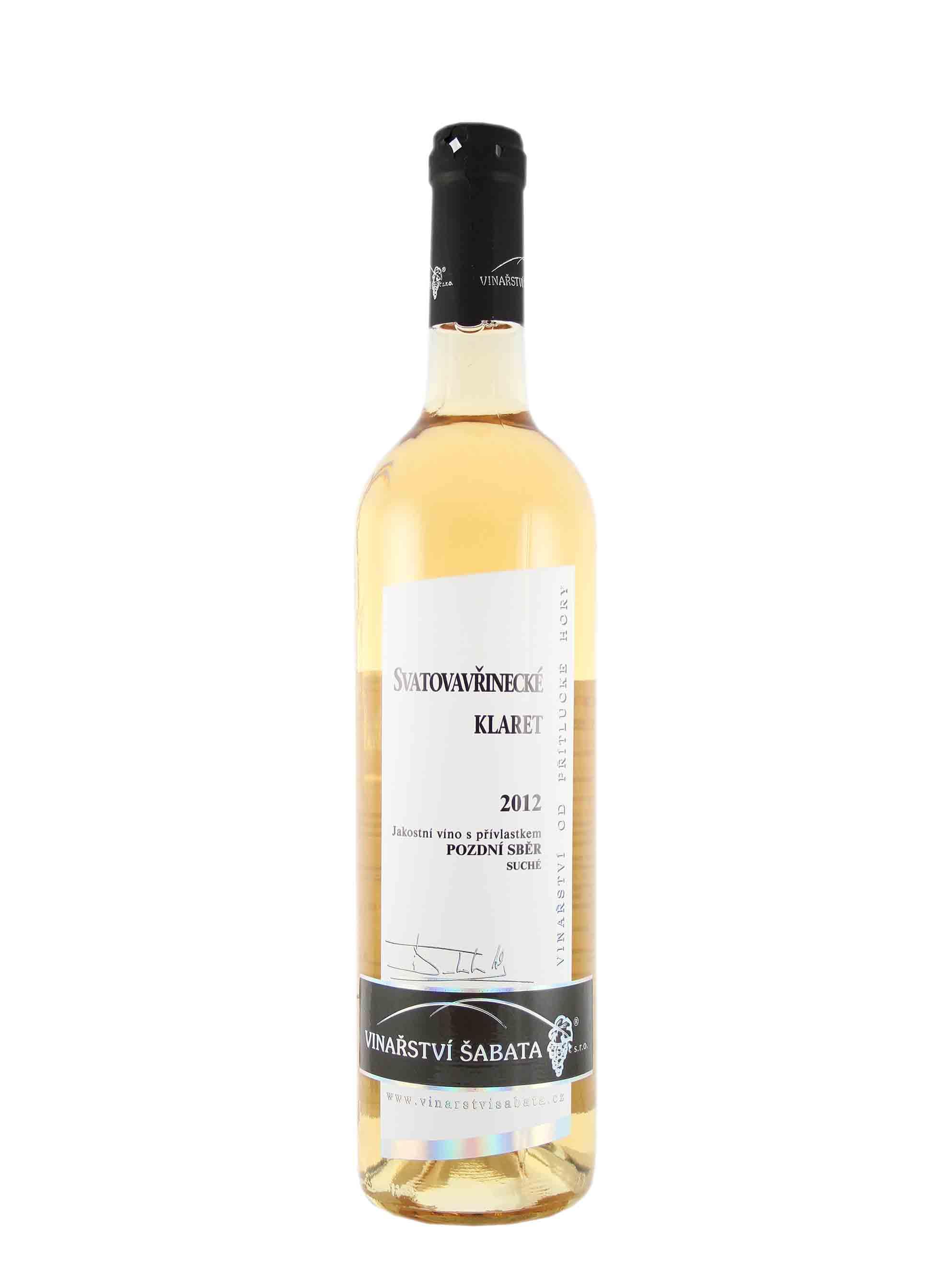 Svatovavřinecké, Pozdní sběr - Klaret, 2012, Vinařství Šabata, 0.75 l