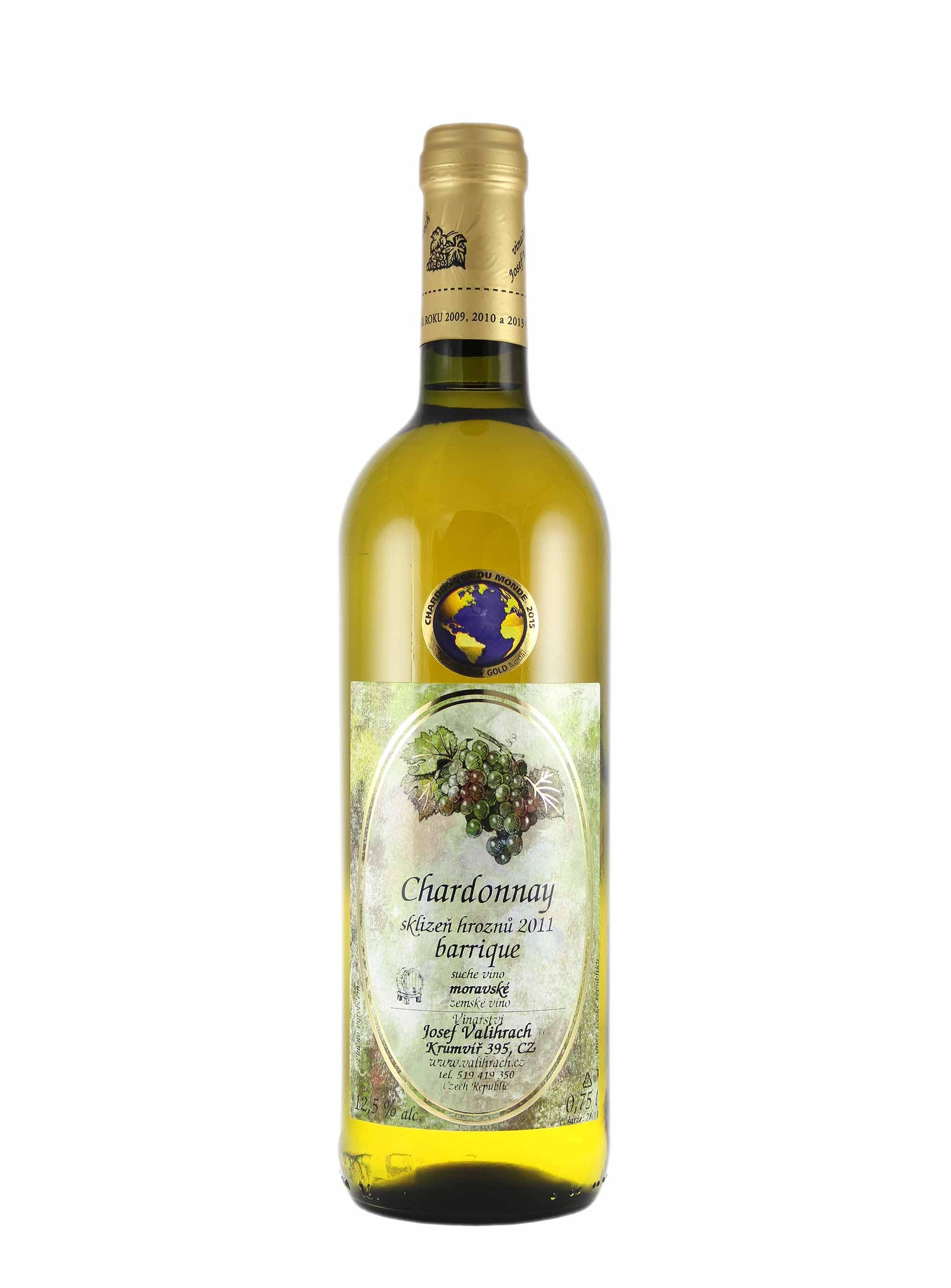 Chardonnay, Zemské - barrique, 2011, Vinařství Valihrach, 0.75 l