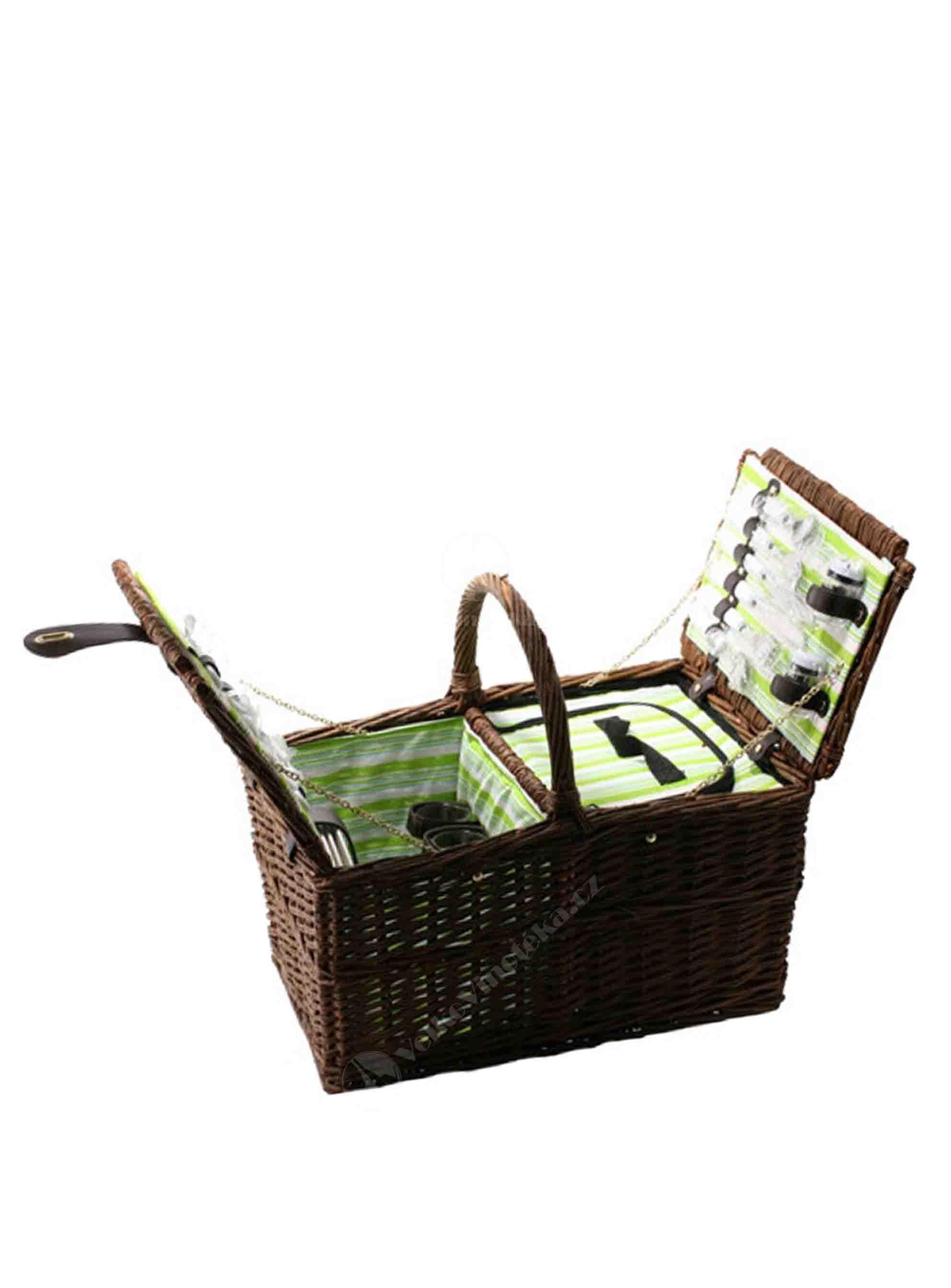 Piknikový proutěný koš pro 4 osoby - hranatý - 1ks