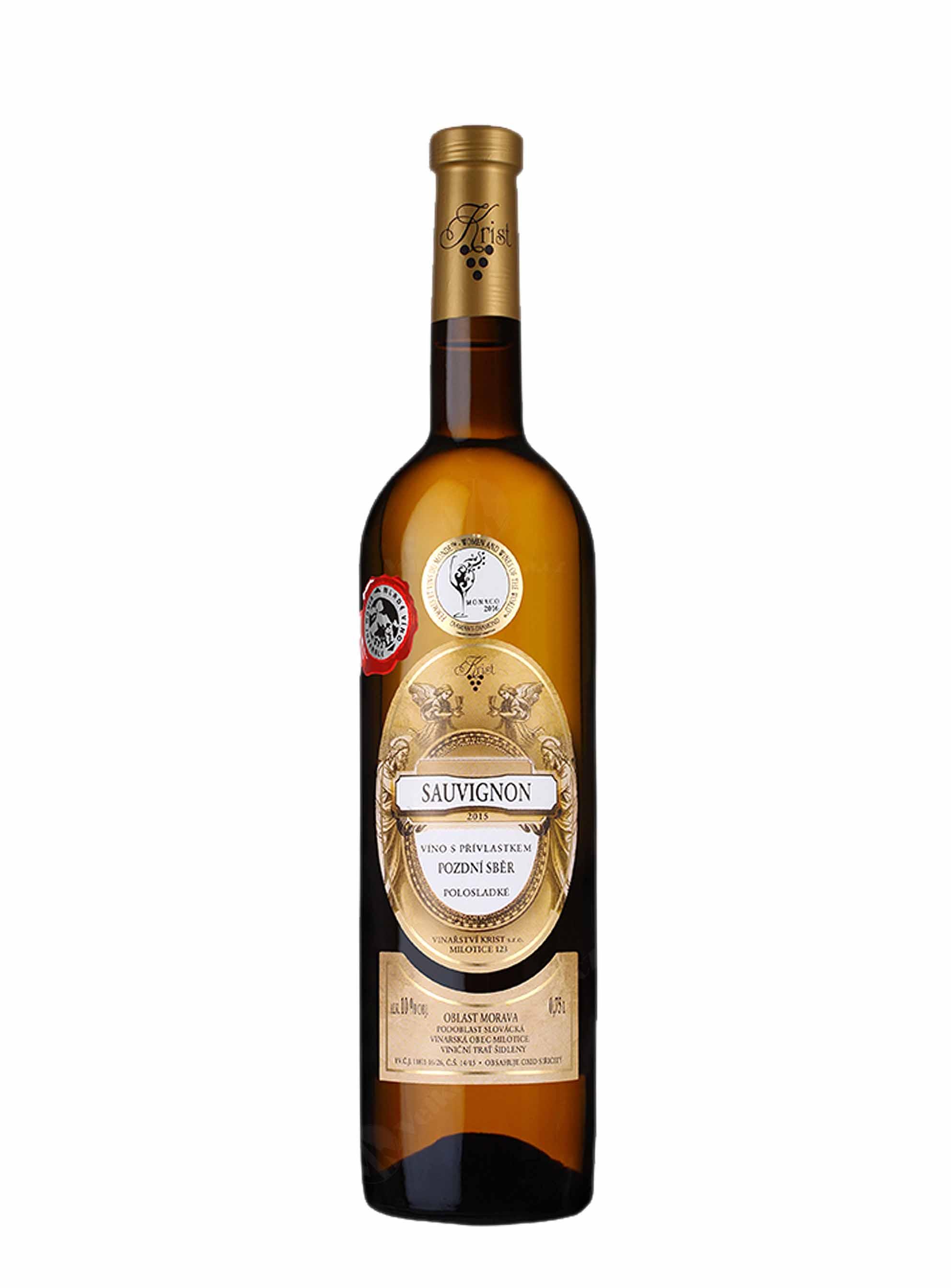 Sauvignon, Pozdní sběr, 2015, Vinařství Krist Milotice, 0.75 l