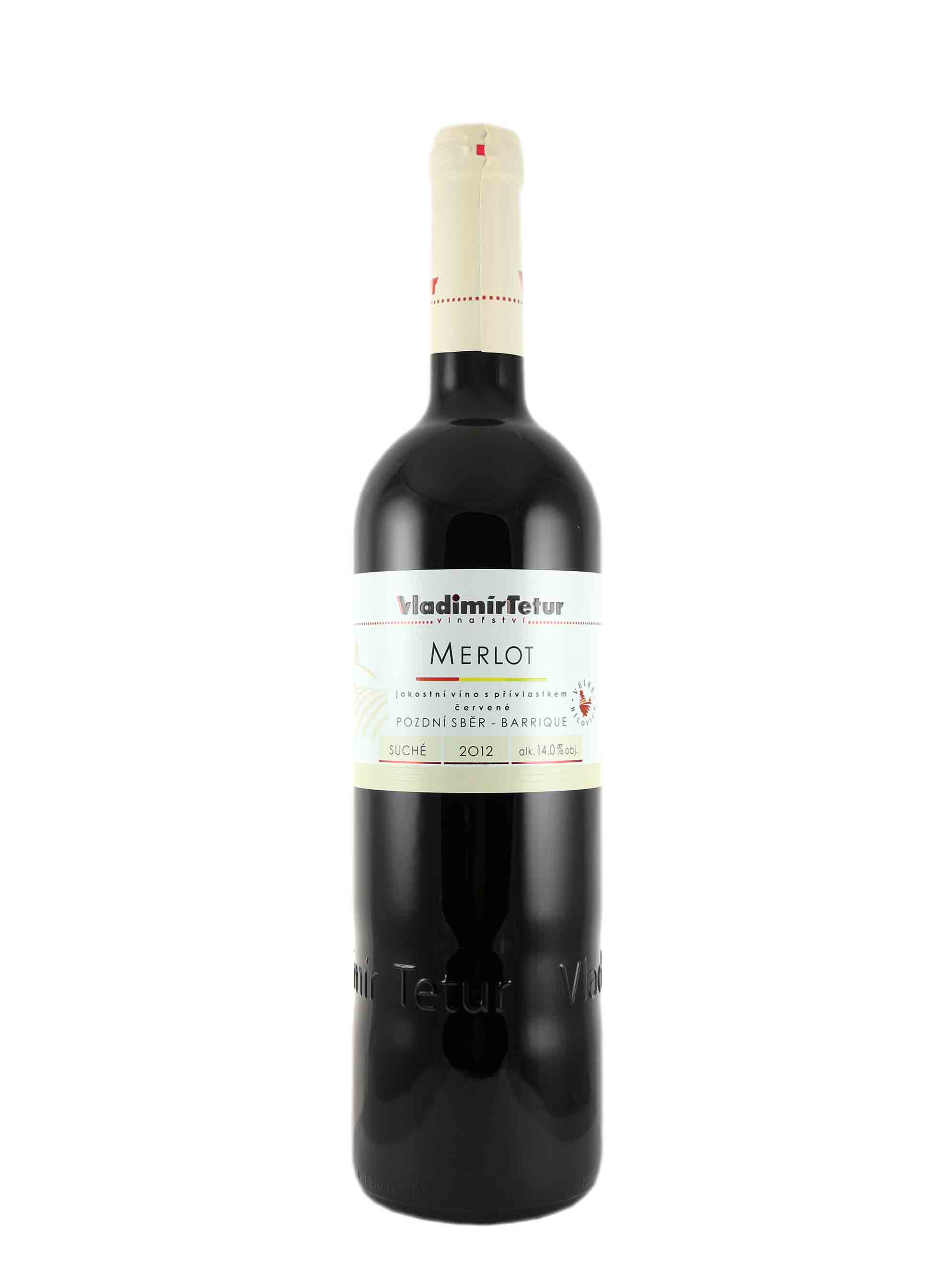 Merlot, Pozdní sběr - barrique, 2012, Vinařství Vladimír Tetur, 0.75 l