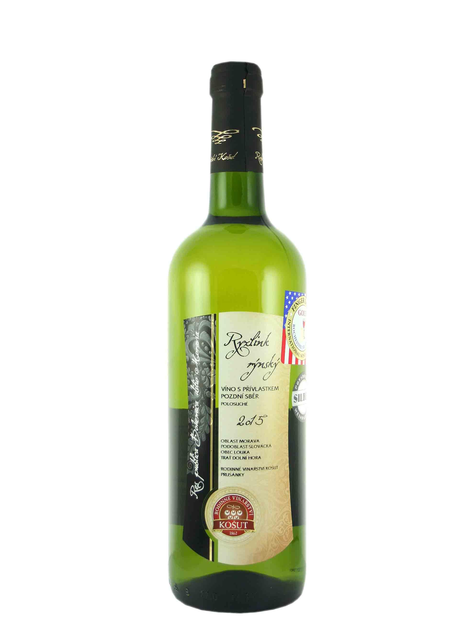 Ryzlink rýnský, Pozdní sběr, 2015, Vinařství Košut, 0.75 l