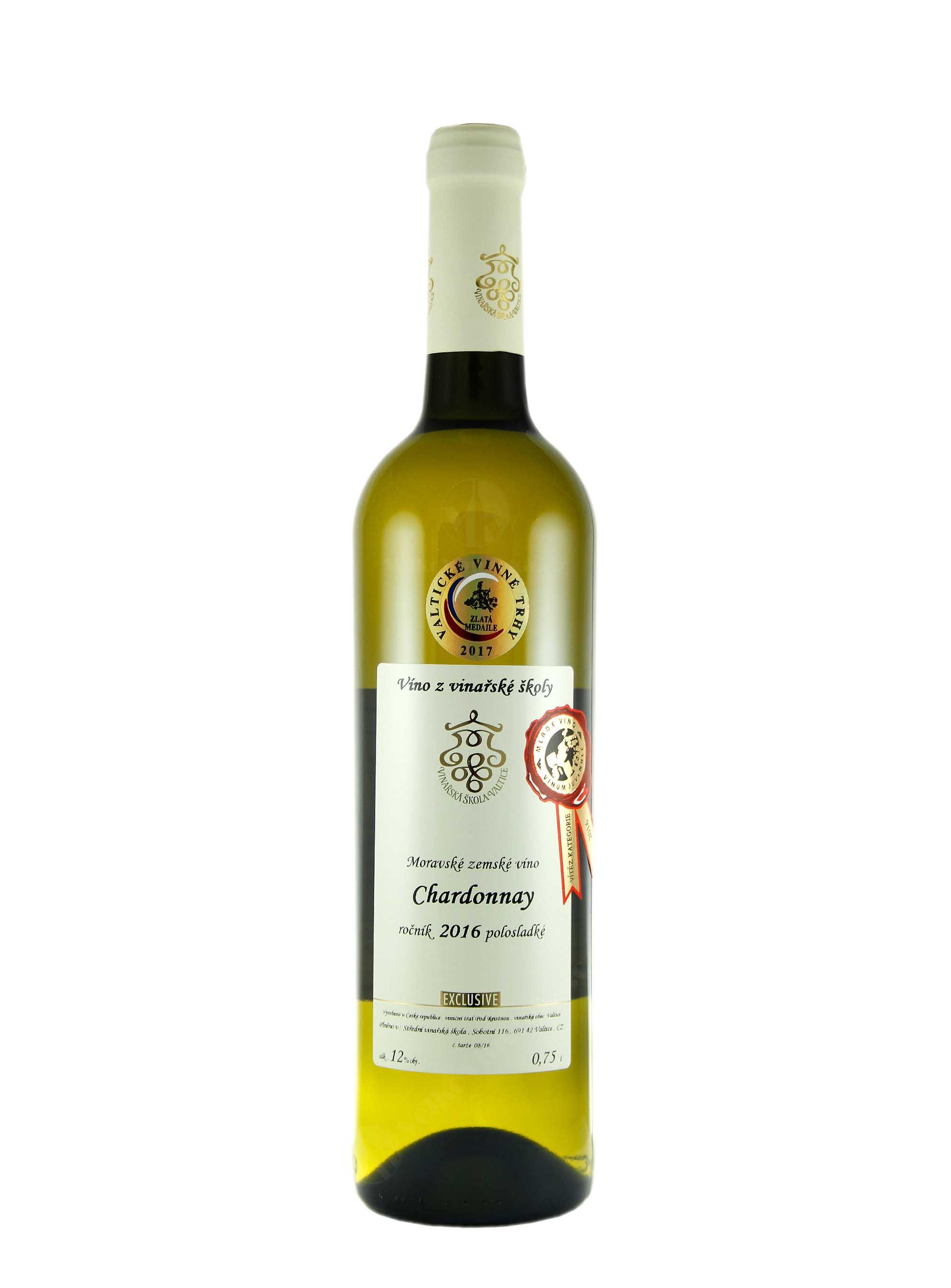 Chardonnay, Pozdní sběr, 2016, Vinařská škola Valtice, 0.75 l