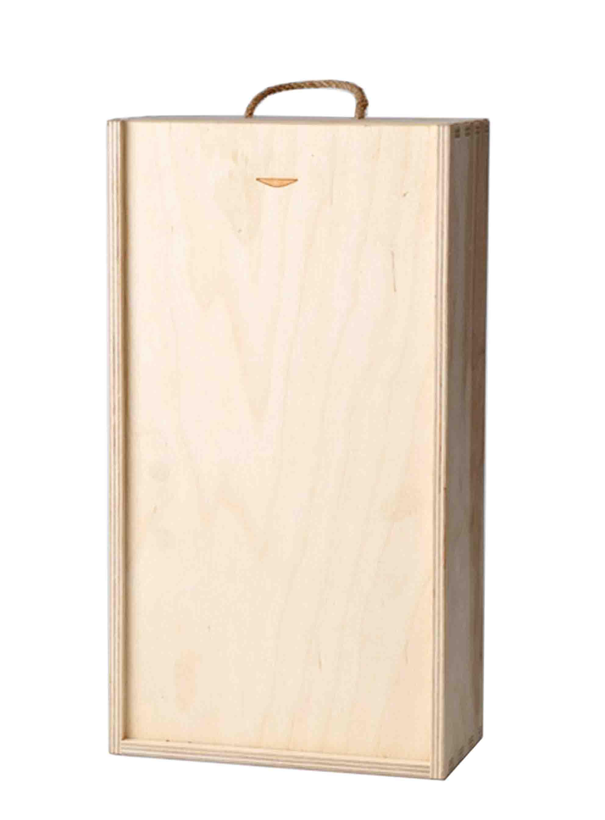 Dřevěná krabice s šoupacím víkem na 2 láhve 165x80x320