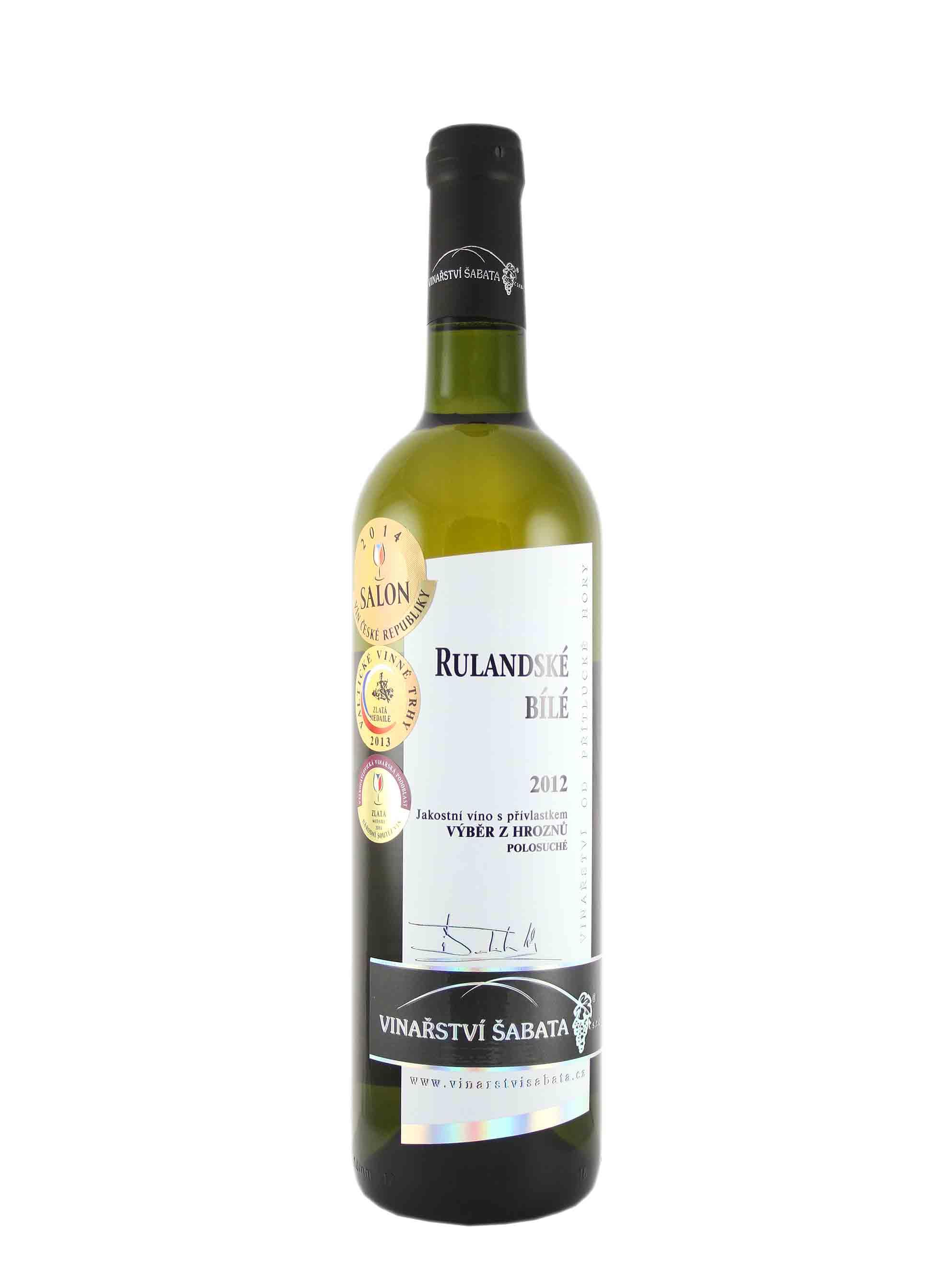 Rulandské bílé, Výběr z hroznů, 2012, Vinařství Šabata, 0.75 l